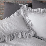 Hand-Frayed-Ruffles-Linen-Pillowcases-(set of 2)-Stone-Grey