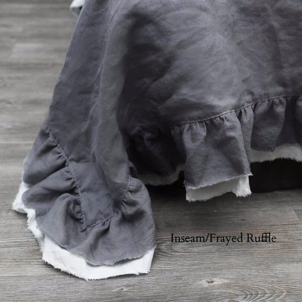 Two Layers Linen Duvet cover with inseam/Frayed ruffle