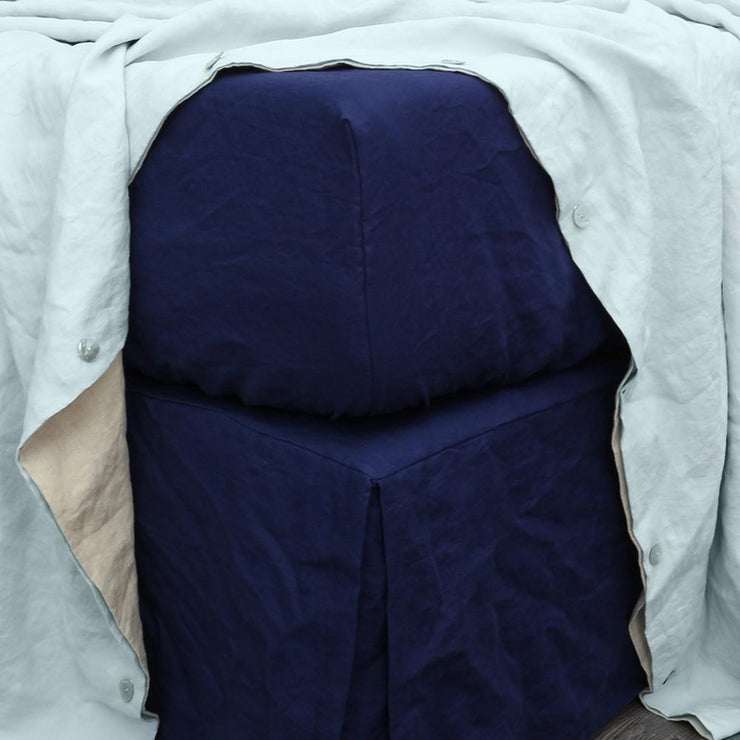 Linen Fitted Sheet Indigo Blue - linenshed.au - 1