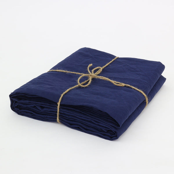 Bed Linen Top Sheet Indigo Blue Folded - Linenshed.au