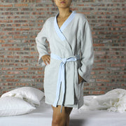 Two Tones Washed Linen Kimono Wrap Top - linenshed.au - 9