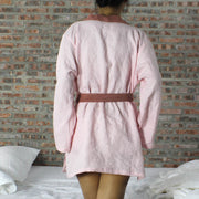 Two Tones Washed Linen Kimono Wrap Top - linenshed.au - 6