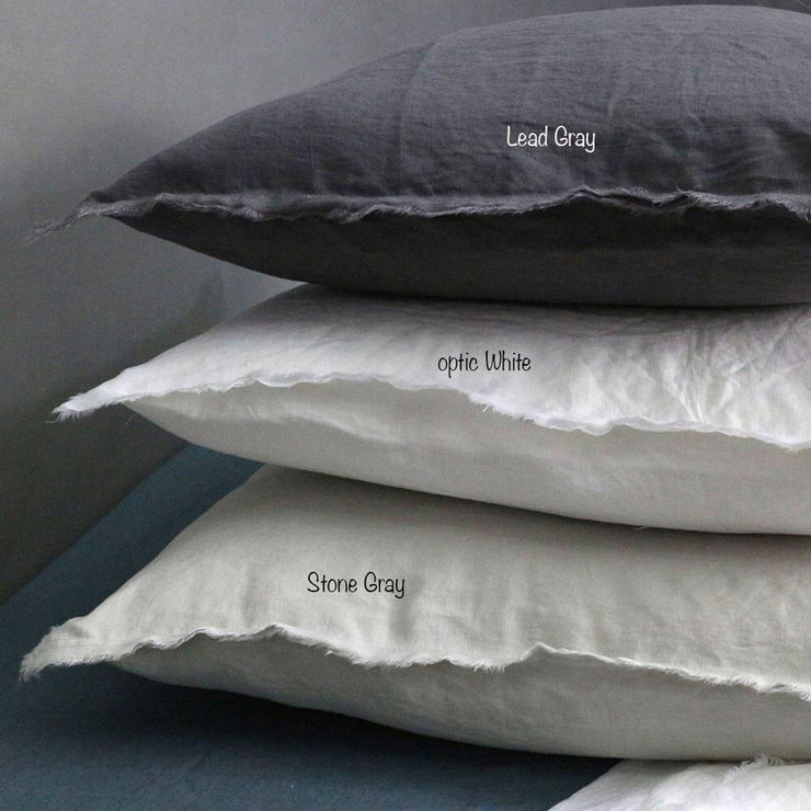 Frayed Edge Cushion Covers Lead Gray / Optic White / Stone Gray - Linenshed