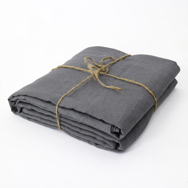 Bed Linen Flat Sheet Lead Grey - linenshed.au