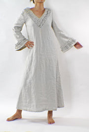 Long Ruffled Linen Night Dress - linenshed.au - 1