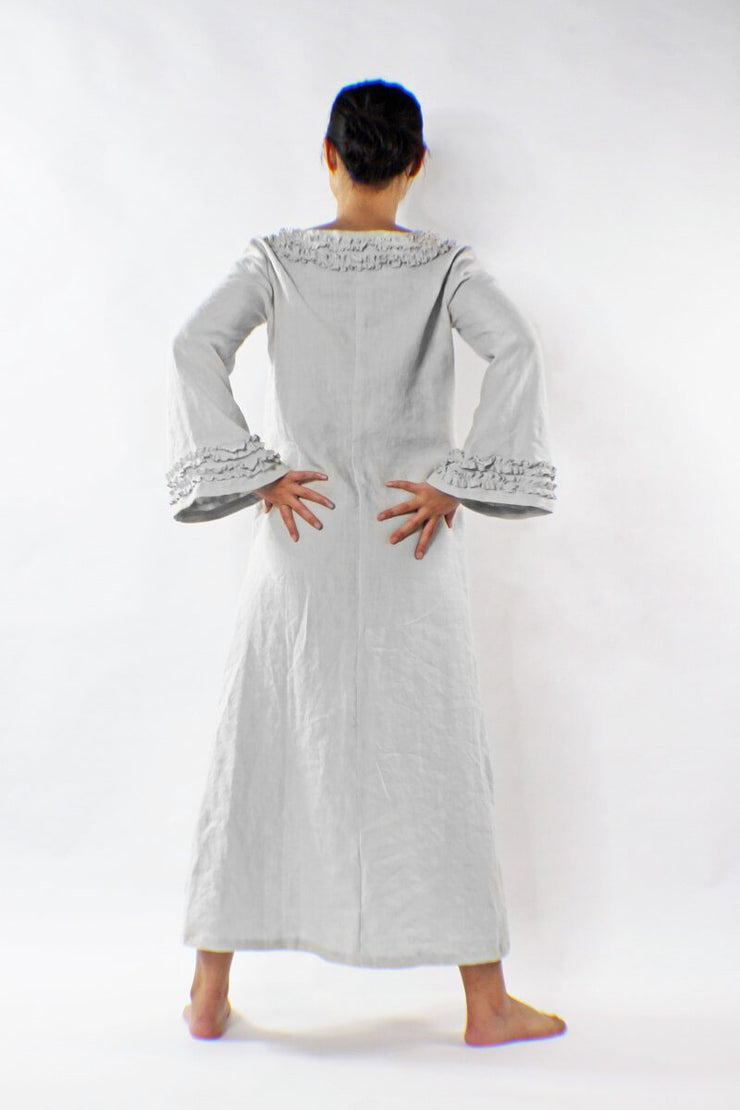 Long Ruffled Linen Night Dress - linenshed.au - 2