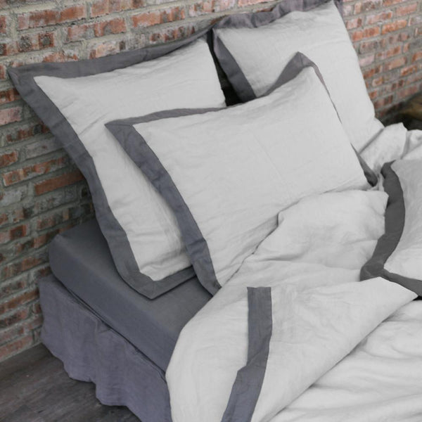 French color Border Linen Duvet Cover - linenshed.au - 1
