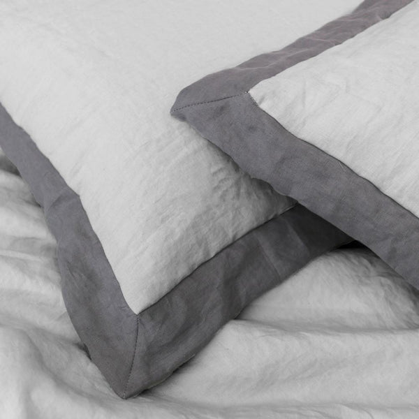 French Color Border Linen Pillowcases (set of 2) - linenshed.au - 1