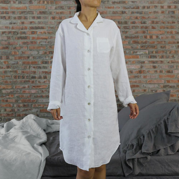 Long Soft Washed Linen Night Shirt - linenshed.au - 1