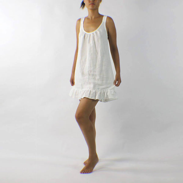 Linen Sleeping Dress with Ruffles - linenshed.au - 1