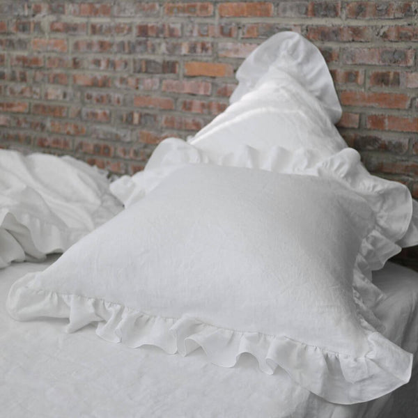Romantic Ruffled Linen Pillowcases (set of 2) - linenshed.au - 1