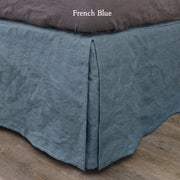 Split-Corner Linen Bed Valance French Blue
