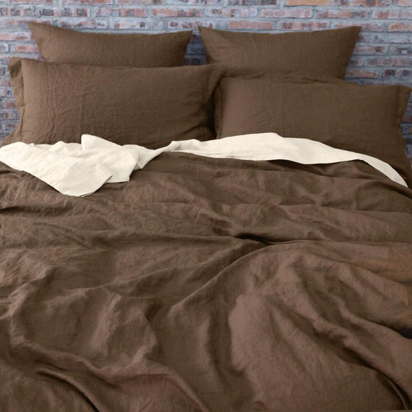 Linen Duvet Cover Earth Brown - linenshed.au - 1