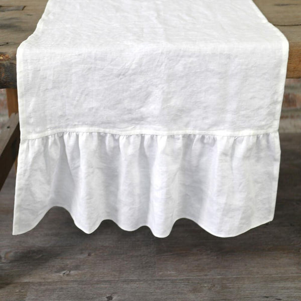 Linen Ruffles Table Runner - linenshed.au - 1
