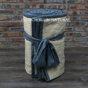 Linen Quilted Bedspread - French Blue/Natural