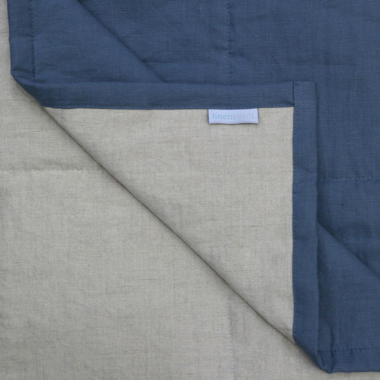 Linen Quilted Bedspread - French Blue/Natural - Closeup