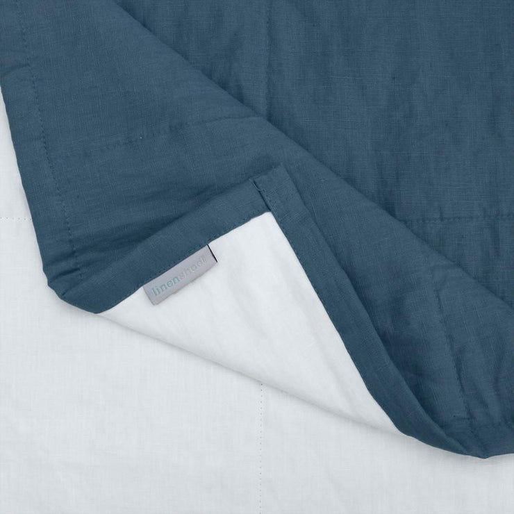 Linen Quilted Bedspread - French Blue/optic White - Closeup