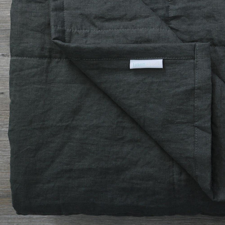 Linen Quilted Bedspread - Black Olive - Closeup
