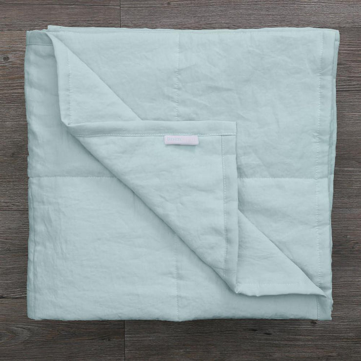 Linen Quilted Bedspread - Icy Blue - Folded