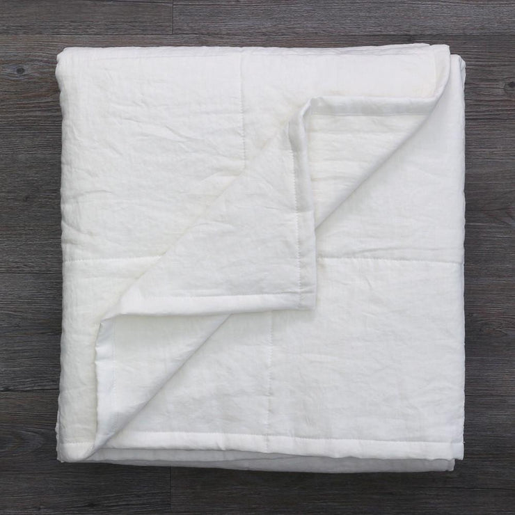 Linen Quilted Bedspread - Optic White - Folded