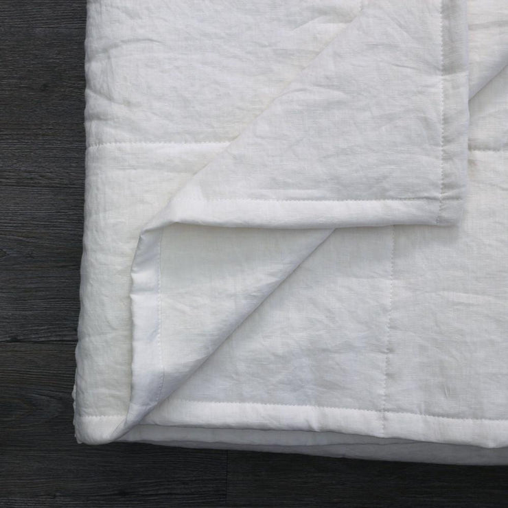 Linen Quilted Bedspread - Optic White - Closeup