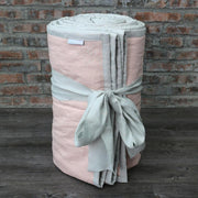 Linen Quilted Bedspread - Salmon/Stone Grey