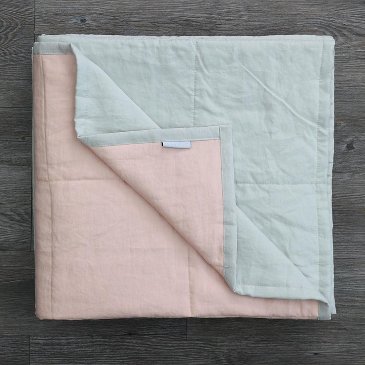 Linen Quilted Bedspread - Salmon/Stone Grey - Folded