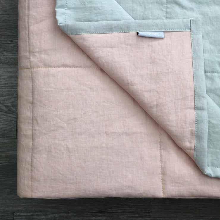 Linen Quilted Bedspread - Salmon/Stone Grey - Closeup