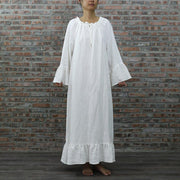 Raglan Long Linen Night Dress - linenshed.au - 1