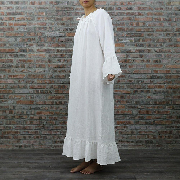 Raglan Long Linen Night Dress - linenshed.au - 2