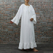 Raglan Long Linen Night Dress - linenshed.au - 3
