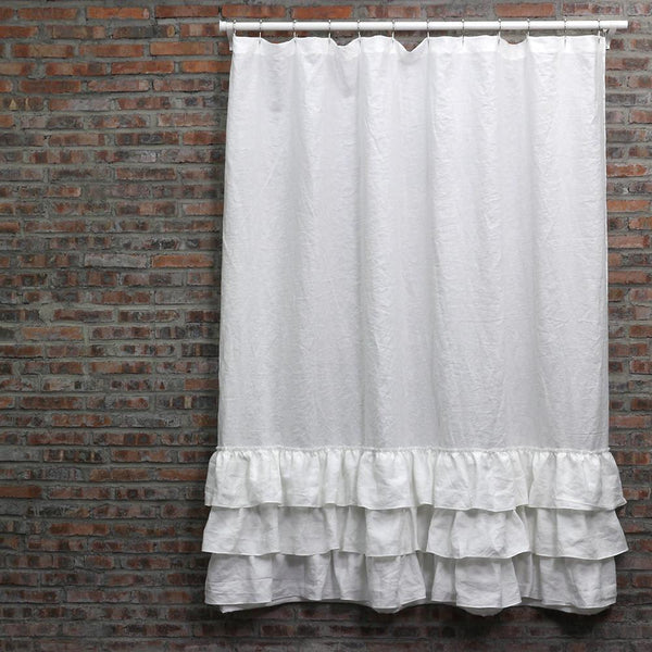 Ruffles Linen Shower Curtain - linenshed.au - 10