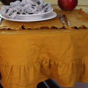 Round Tablecloth made from 100% Linen with Ruffles - Linenshed