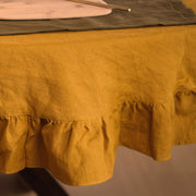 Tablecloth in 100% Linen with Ruffles - Linenshed
