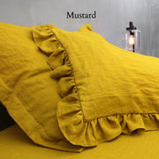 Romantic Ruffled Linen Pillowcases (set of 2) - linenshed.au - 7