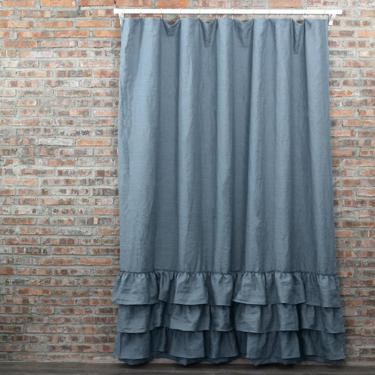 Ruffles Linen Shower Curtain - linenshed.au - 3