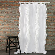 Drops Ruffles Linen Window Curtain - linenshed.au - 1