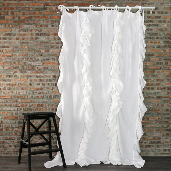 Drops Ruffles Linen Window Curtain