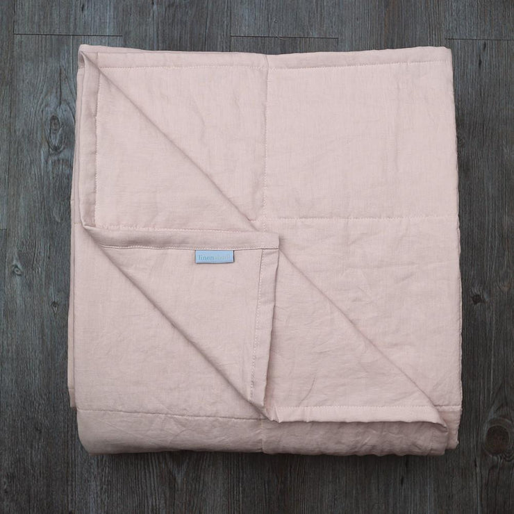 Linen Quilted Bedspread - Salmon - Folded