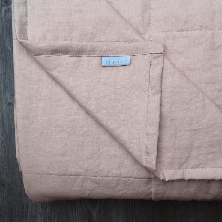 Linen Quilted Bedspread - Salmon - Closeup