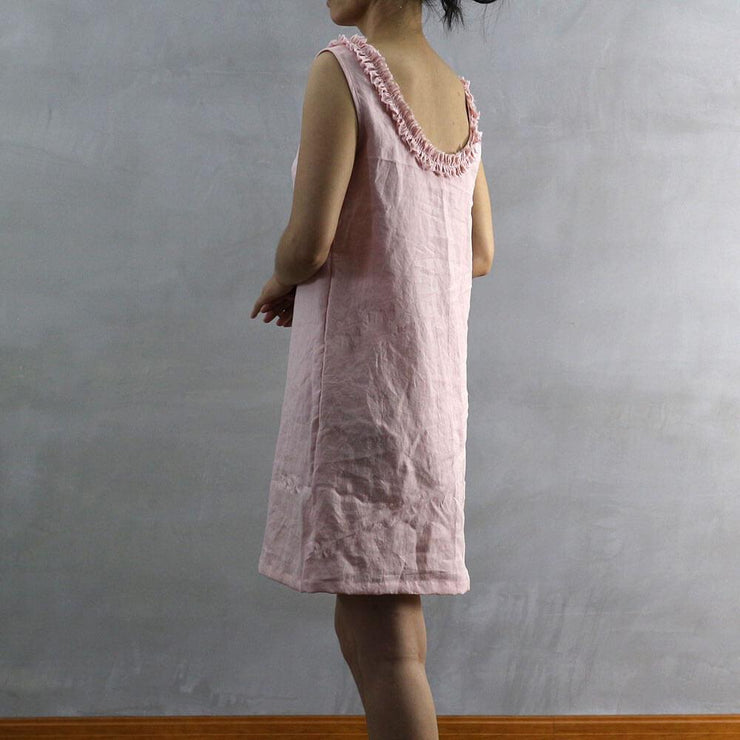 Frayed Ruffle Collar Linen Dress 02 - Linenshed