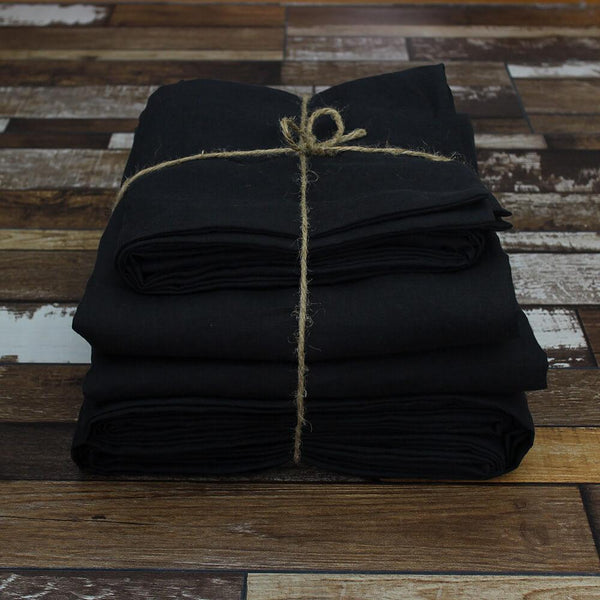 100 % Linen Sheets set in Pure Black - Linenshed
