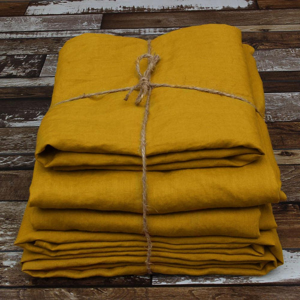 Linen Sheets Set Basic Linen Sheets Set In Mustard Hue