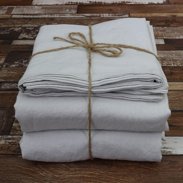 Pure Linen Sheets Set Stone Grey - Linenshed
