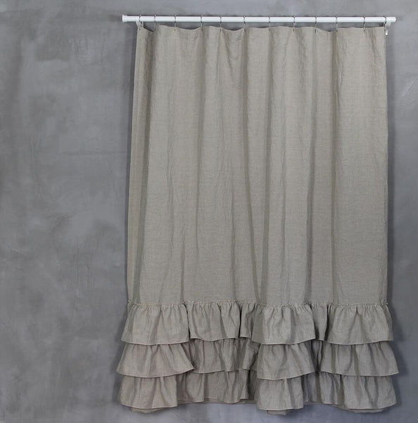 Ruffles Linen Shower Curtain Natural - Linenshed