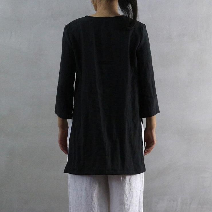 Side Slit Short Linen Tunic 03 - Linenshed