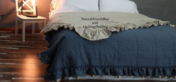 2Tones Coverlet Natural/French Blue with Quilting/Padding