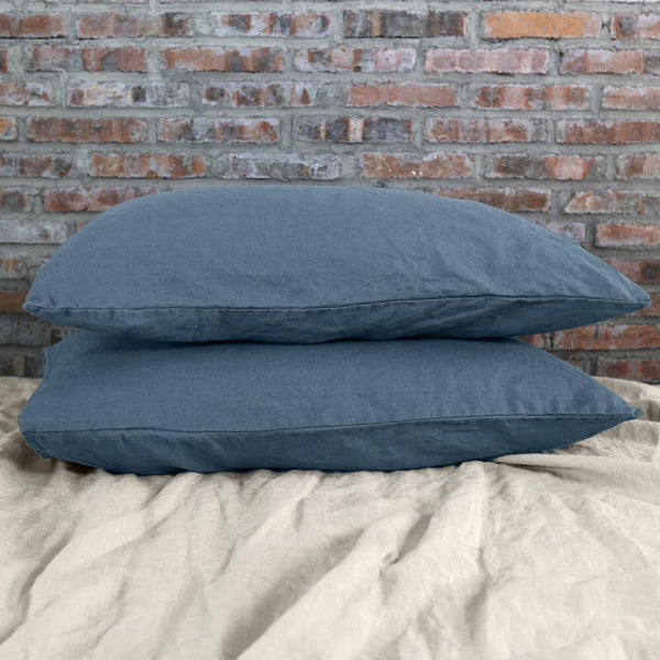 Housewife Linen Pillowcases French Blue (set of 2) - linenshed.au - 1