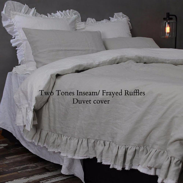 Two Tones inseam Frayed Ruffles Duvet Cover Stone Grey/Optic White