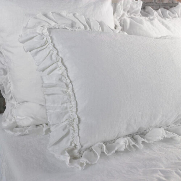 Hand Frayed Ruffles Linen Pillowcases (set of 2) - linenshed.au - 1